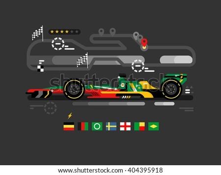 Sport car on track - stock vector