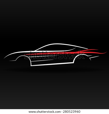 Sport car outline abstract for website and graphic design - stock vector