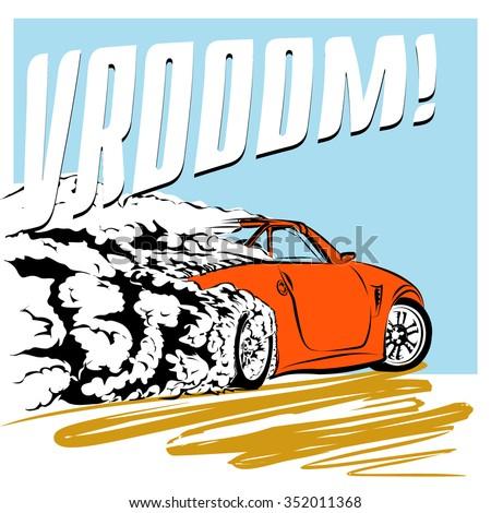 Sport car speeding across the road vroom poster - stock vector