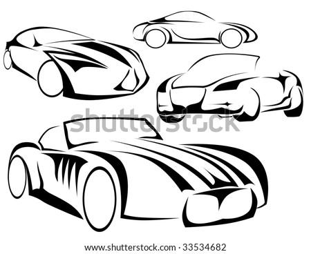 sport cars - stock vector