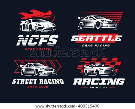 Sport cars logo illustration on dark background. Drag racing.  - stock vector