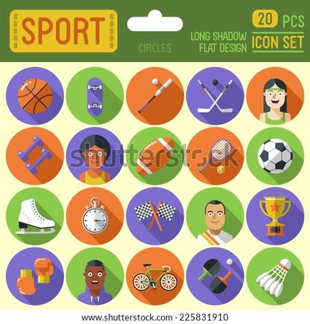 Sport circle icon set. Long shadow flat design. Vector illustration. - stock vector