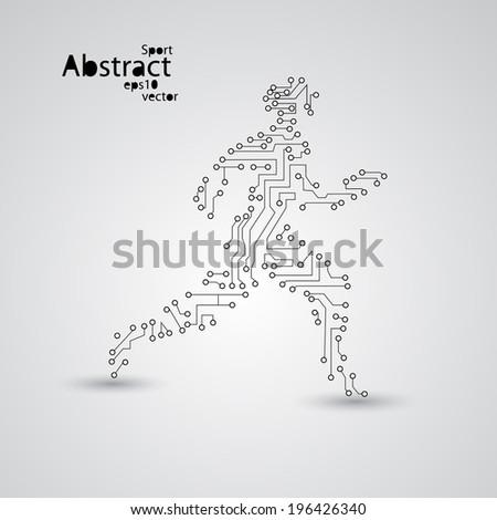 Sport circuit board running man eps10, vector elegant illustration - stock vector