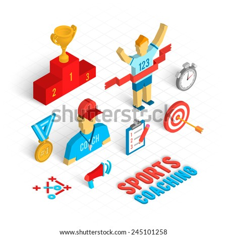 Sport coaching concept with isometric decorative icons set isolated vector illustration - stock vector