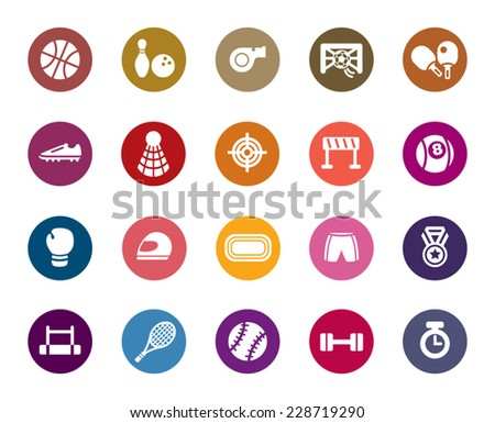 Sport Competition Color Icons - stock vector