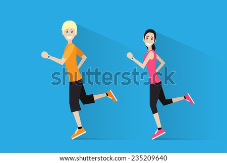 sport couple man and woman run with fitness tracker on wrist runner jogging happy smile training flat design icon - stock vector