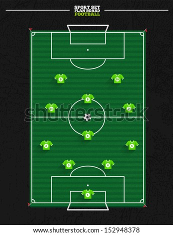 Sport court series | Soccer strategy formation and position player - stock vector