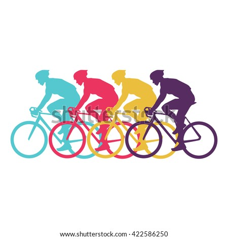 Sport cyclist silhouette vector modern design - stock vector