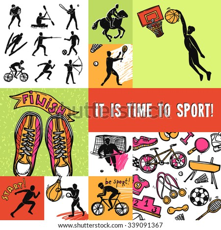 Sport design concept set with competition icons isolated vector illustration