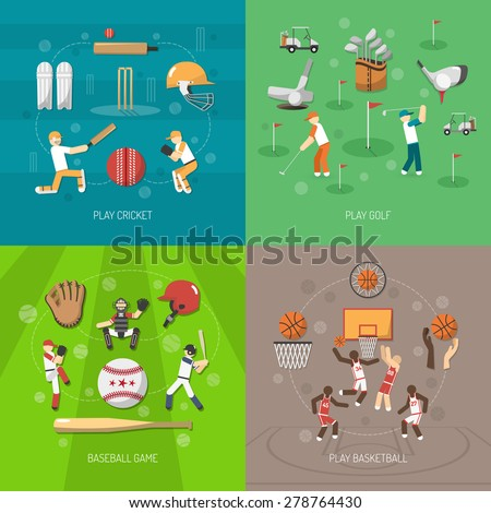 Sport design concept set with cricket golf baseball and basketball game flat icons isolated vector illustration - stock vector