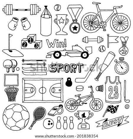 Sport doodle set. Hand drawn vector illustration. - stock vector