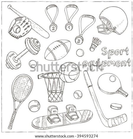 Sport doodles elements background. Vector illustration. - stock vector