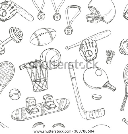 Sport doodles seamless pattern. Vector illustration. - stock vector