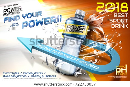 Sport drink ads, plastic bottle with splashing liquids and 3d arrow with 3d illustration