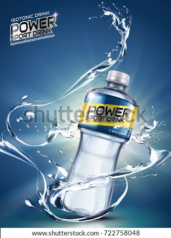 Sport drink ads, splashing liquids with plastic bottle in 3d illustration, blue background with beams