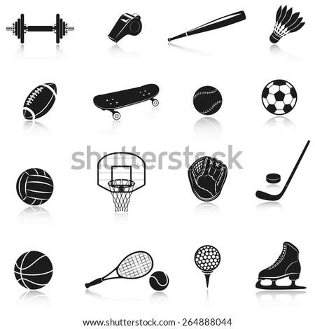 Sport equipment decorative icons set with dumbbell whistle baseball bat isolated vector illustration - stock vector