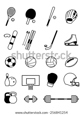 Sport Equipment Icons Isolated on White - stock vector