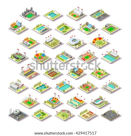 Sport Facility Building Set.Miniature 3D Isometric City Map Sport Park Buildings Infographic Elements.Stadium Arena Field Pool Green Track Camp Court Structures. Summer Games Sport Vector Illustration