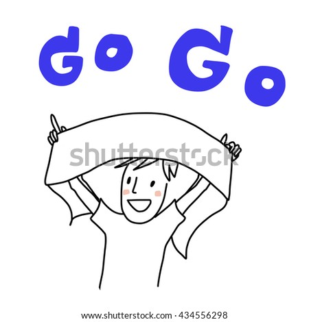 sport fan cheering and holding up his team scarf. - stock vector