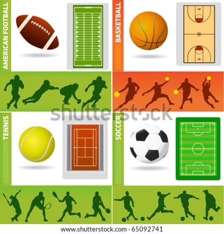 sport field, ball and design elements