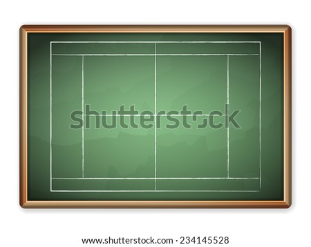 Sport field plan on blackboard.