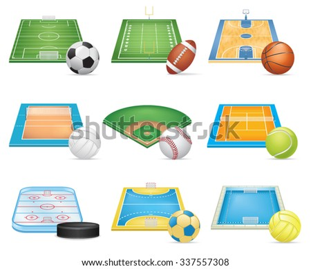 Sport Fields Icons Set - stock vector