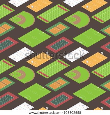 Sport fields seamless pattern. Vector illustration. - stock vector