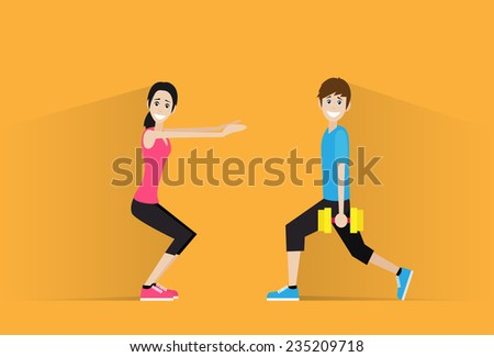 sport fitness couple man dumbbell woman exercise workout flat icon vector illustration - stock vector