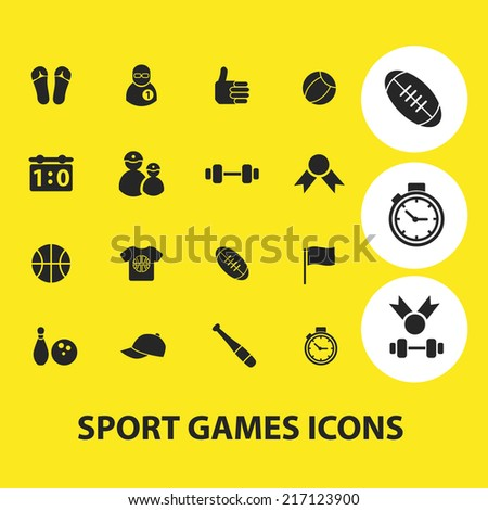 sport, fitness, games icons set, vector - stock vector