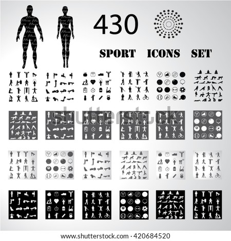 Sport fitness icons set illustration - stock vector