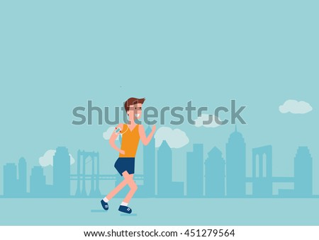 Sport fitness male character running in new york city vector - stock vector