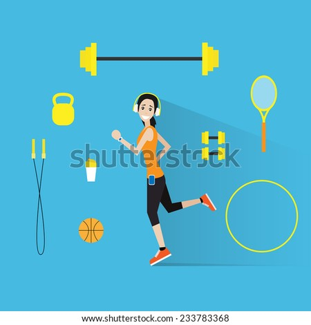 sport fitness woman run exercise workout girl flat icon vector illustration - stock vector