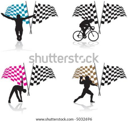 sport, flag, bike, american football, athleticism, athletics, swimming - stock vector
