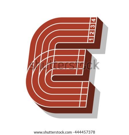 Sport font, letter E, running track, vector. - stock vector