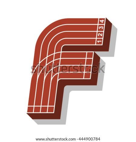 Sport font, letter F, running track, vector. - stock vector