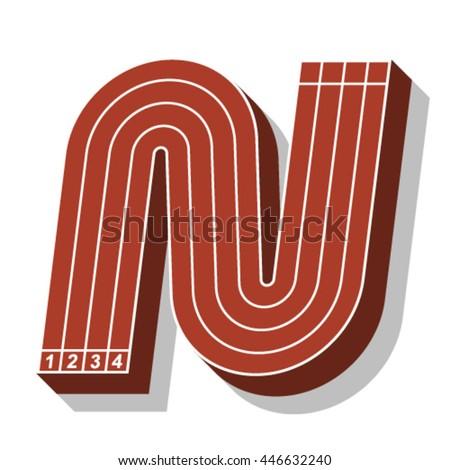 Sport font, letter N, running track, vector. - stock vector