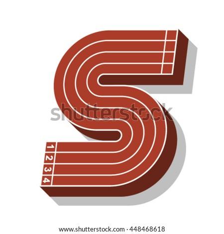 Sport font, letter S, running track, vector. - stock vector