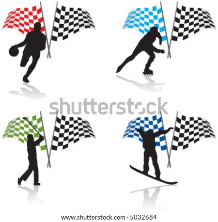 sport, football, ski, golf, skate, snowboard, flag - stock vector