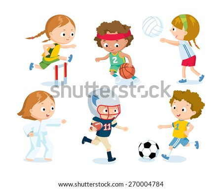 sport for kids including football, volleyball, basketball, karate,  american football, athletics - stock vector