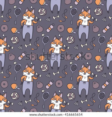 Sport fox seamless pattern