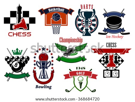 Sport game emblems and symbols in retro style for football or soccer, billiards, golf, ice hockey, chess, basketball, darts and bowling game design. Isolated on white - stock vector