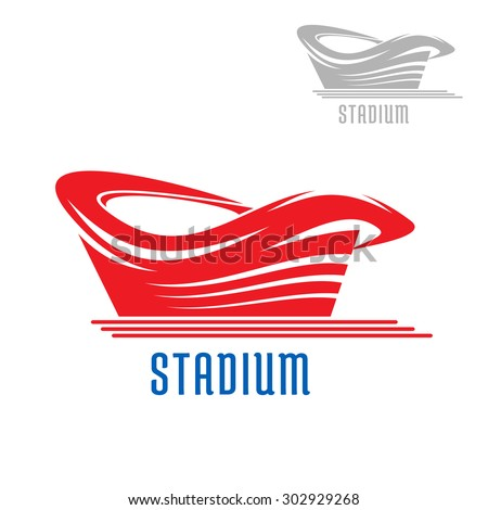 Sport game stadium or arena building icon with red contour and caption, also gray version on the corner. For sporting design - stock vector