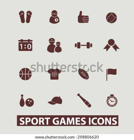 sport, games, fitness, gym icons, signs, illustrations set, vector - stock vector