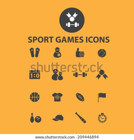 sport, games, fitness icons, signs, objects set, vector - stock vector