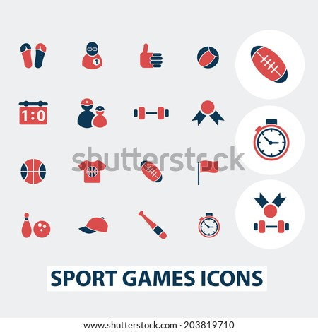 sport, games, fitness icons, signs, symbols, vector set - stock vector