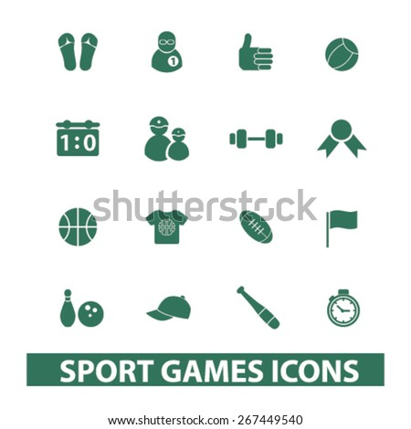 sport, games, fitness isolated web icons, signs, illustrations concept design set, vector - stock vector