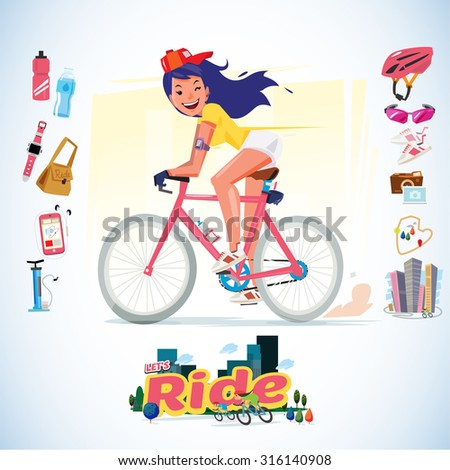 sport girl riding bicycle with icon set. typographic. enjoy ride. character design - vector illustration - stock vector