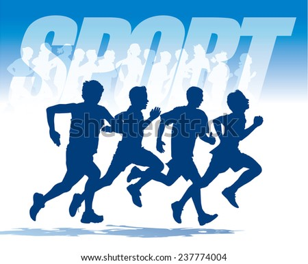 Sport. Group of four young people running in the race. - stock vector