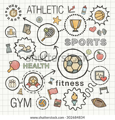 Sport hand draw integrated color icons set. Vector sketch infographic illustration with line connected doodle hatch pictograms on school paper: competition, ball, play, tennis, cup sign, game concepts - stock vector