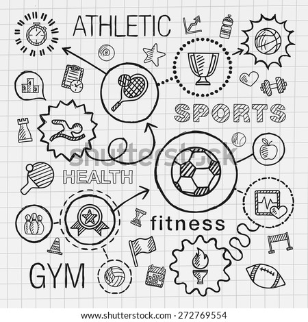Sport hand draw integrated icons set. Vector sketch infographic illustration with line connected doodle hatch pictogram on school paper: competition, ball, play, soccer, tennis, cup sign, game concept - stock vector